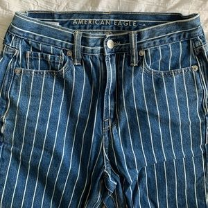 American Eagle High Waisted Striped Mom Blue Jeans